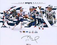 "Tom Brady New England Patriots Signed 16"" x 20"" 6-Time Super Bowl Champion Photo"