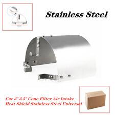 "Car 3"" 3.5"" Cone Filter Air Intake Heat Shield Stainless Steel polish finish Kit"