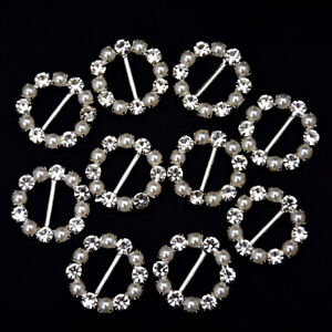10Pcs Diamante Rhinestone Buckles Heart Ribbon Sliders Decor Embellishments UK