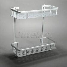 2 Tier Basket Bathroom Towel Holder Rail Rack Soap Shelf Storage Space Aluminum