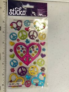 Sticko Peace Sign Stickers, Hearts, Flowers set of 50