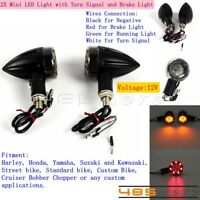 2X Mini LED Turn Signal Light Brake Lamp For Harley Honda Suzuki Yamaha Kawasaki