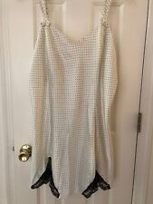 Vintage Inner Most Chemise Black Polka Dot & Ivory Satin Night Gown Size XL