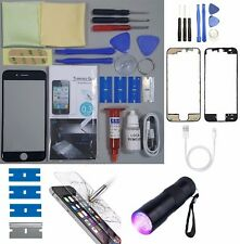 Apple iPhone 6S Replacement Screen Front Glass Repair Kit BLACK UV TORCH + FRAME