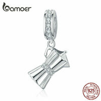 BAMOER Solid S925 Sterling silver Charms CZ Coffee equipments Bead Fit Bracelet
