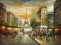 Oil painting impressionism Paris street scene Traveling carriage on the street