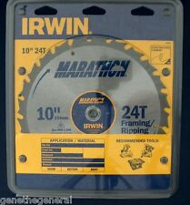 "NEW IRWIN 10"" x 24 CARBIDE TPI SAW BLADE, LESS SPLINTERS RIPPING, FRAMING 14233"