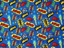 "COMIC ACTION WORDS FABRIC SUPERHERO MARVEL  ZOOM ZAP  100% COTTON   13"" REMNANT"