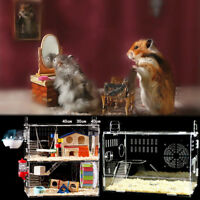 Acrylic Hamster Cage Clear 12 Layer Mice Mouse Gerbil Castle Rat House Toy Bed