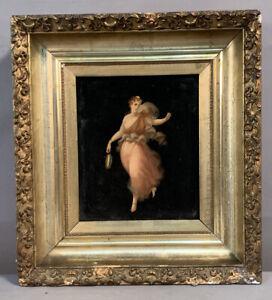 Ca.1900 Antique ART NOUVEAU Semi NUDE Dancing LADY Old PORTRAIT PAINTING Frame