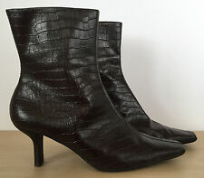 NINE WEST Somero Womens Brown Leather Gator Skin High Heel Ankle Boots Sz 7.5