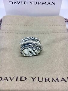 David Yurman Sterling Silver Diamond Crossover Cable Wide Band Ring Size 8
