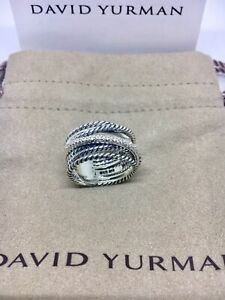 David Yurman Sterling Silver Diamond Crossover Cable Wide Band Ring Size 5