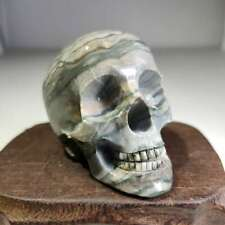 Natural red and green stone, carved, skull head     JG69