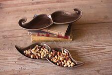 Kalalou Set of 2 Ceramic Mustache ServingTrays Trinket Dish keys catch all Table