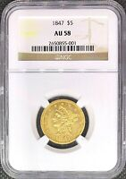1847 $5 • GOLD LIBERTY HEAD AMERICAN HALF EAGLE • AU58 NGC • RARE MINT COIN!