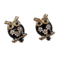 Vintage Retro Black Gold Cute Owl Crystal Stud Earrings Accessory New