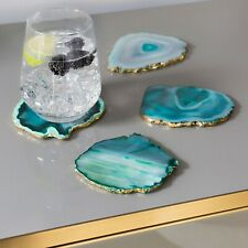 Natural Handmade Crystal Druzy Agate Stone Tea Drinks Bar Coasters Set Barware
