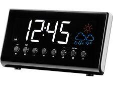 "RADIO REVEIL FM HORLOGE STATION METEO ECRAN 1,4"" COULEUR DOUBLE ALARME SNOOZE"