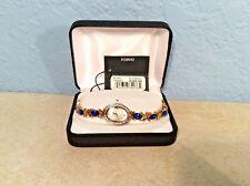 Lady ELGIN Analog Dress Bracelet Goldtone Watch Blue Crystals CZ Pearl Face Tag