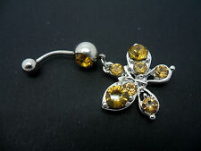 A  STAINLESS STEEL AMBER  CRYSTAL BUTTERFLY NAVEL/BELLY BAR. NEW.