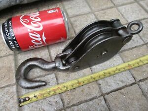 VINTAGE IN IRON DOUBLE PULLEY SHEAVE OLD MARITIME MARINE NICE FUNCTIONAL TOOL