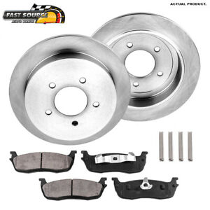 For Lincoln Navigator Ford F150 Expedition Rear Brake Rotors Ceramic Pads