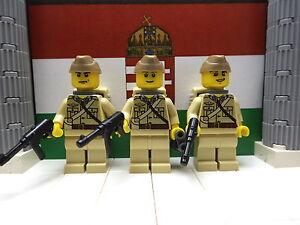 3x WWII LEGO Hungarian Lance-Sargeants Para. Bn Szent Laszoli Div. 1945 w/ MP40s
