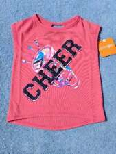 New/NWT Gymboree Toddler Girls Coral Cheer Glitter Print Tee/Shirt, Size XXS (3)