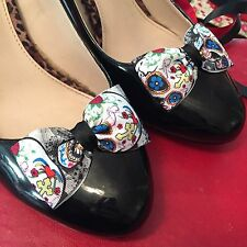 Skull Bow Shoe Clips 4 Shoes Sugar Skull Pinup Rockabilly Retro Burlesque
