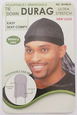 Durag Black Breathable Tie Down Style Plain Fits All Sizes #3910BLK