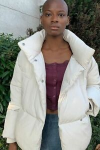Urban Outfitters UO Faye Wrap Puffer Jacket Off White M / L UK 10-12 NEW  £76