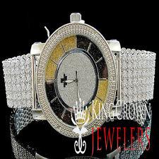 Mens Iced 14k White Gold FInish Real Diamond Custom Band Techno Jojo Rodeo Watch