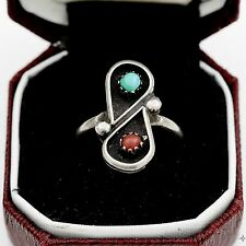 Vintage Sterling Silver Native Pawn Indian Navajo Turquoise Red Coral Ring Sz 5