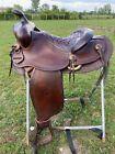 "Used/vintage 15"".5"" border tooled Heiser Western saddle good condition"