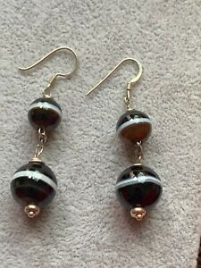 Victorian Sterling Silver Bended agate Earrings