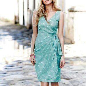 Boden Ladies 6R Dress Linen Blend Wrap Style Aqua Turquoise Scallop WORN ONCE