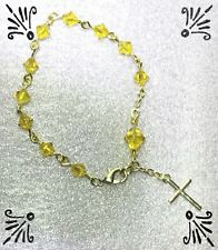 Handcrafted Gold Rosary Bracelet MADE WITH Swarovski Sunshine Yellow Crystals