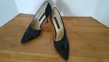Vtg Larry Stuart Collection Pumps Heels Black Leather Synthetic Italy Wms 7.5 M
