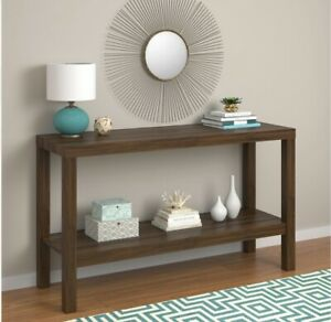 Canyon Walnut Parsons Console Table Lightweight Rectangular Living Room Accent