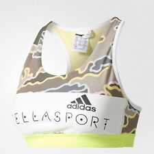 adidas STELLASPORT Camo Bra BJ9299 Women Stella McCartney White Yellow Fitness