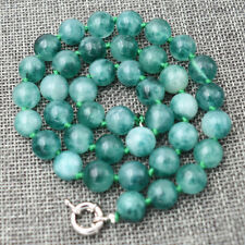 "Round bead necklace 18 "" Hand Knotted 10mm white&green Emerald gemstone"
