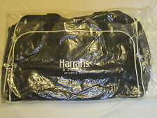 HARRAHS LARGE TRAVEL TOTE DUFFLE BAG CARRY ON BLACK ATLANTIC CITY CASINO GIFT