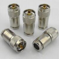 5x PL259 Plug Male Clamp Type RG213 LMR400 Ecoflex Ultraflex Hyperflex 10 UHF