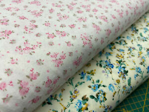 Brushed Cotton Flannel Ditsy Flowers Kids Baby Dressmaking Fabric by 1/4M*