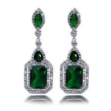 Women 925 Silver Emerald Fashion Jewelry Droop Studs Earrings Gift