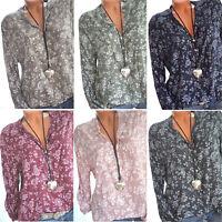 Plus Size Women's Boho Floral Long Sleeve Blouse Baggy Tops V Neck T Shirt S-5XL
