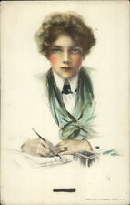 Philip Boileau - Beautiful Woman Writing His Name on w/ Pen c1910 Postcard