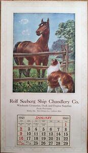 Mobile-AL/Gulfport-MS/New Orleans, LA 1921 Advertising Calendar/Poster: Ship/Dog