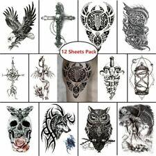 12 pcs Temporary Tattoo Stickers Masculine Waterproof Body Art Eagle Skull Cross